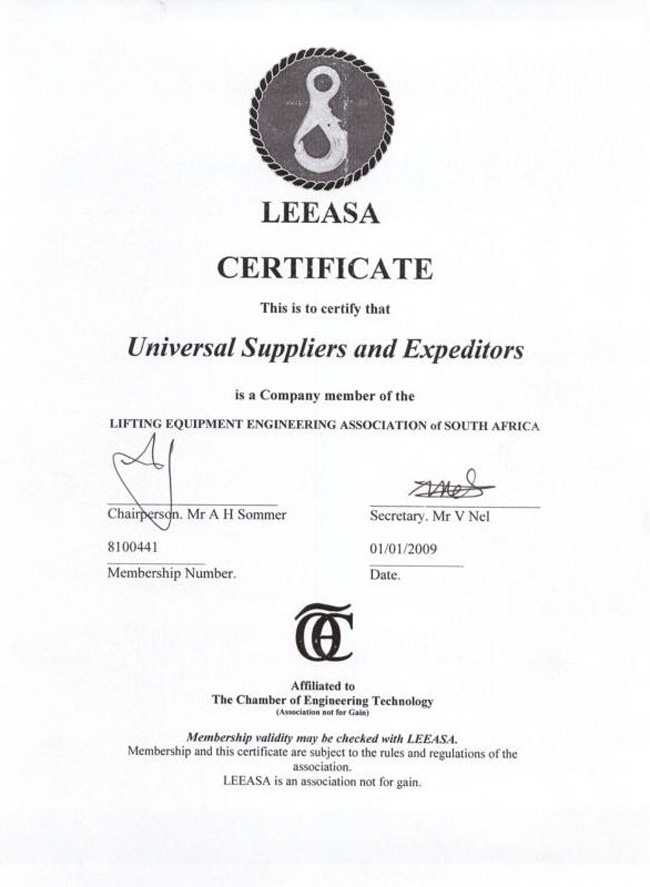 Universal Suppliers & Expediters_Cert_LEEASA